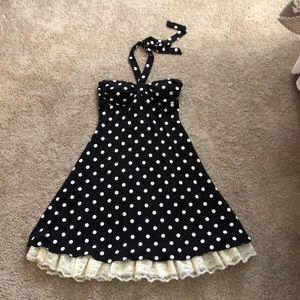 Black & White Polka Dot Halter Dress